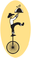 Meals on Wheels logo--man on unicycle with food tray
